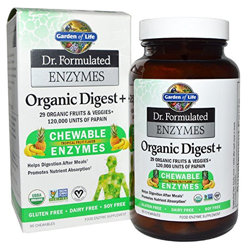 - Garden of Life, Dr. Formulated Enzymes, Organic Digest +, Tropical Fruit Flavor, 90 Chewables