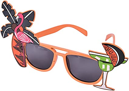 Pack of 4 Assorted Novelty Tropical Flamingo Glasses Hawaiian Beach Sunglasses