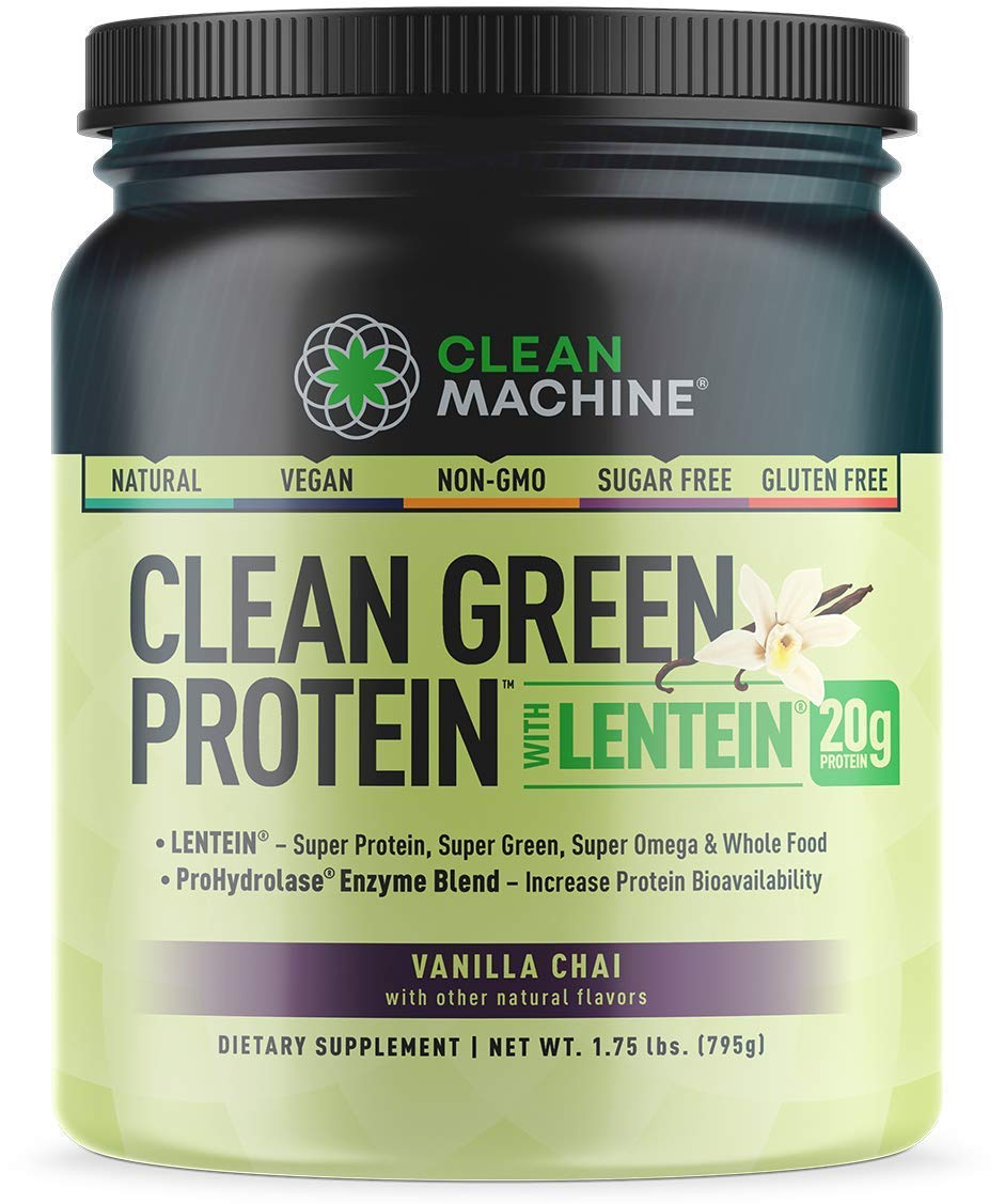 Clean Machine Clean Green Protein with Lentein, Vanilla Chai, 1.75 lbs, 20 Serving