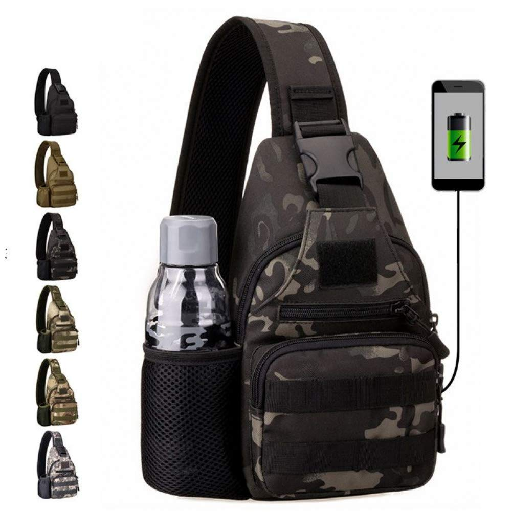 HUYANNABAO USB充電アウトドアミリタリータクティカルバッグ キャンプ トレッキング 旅行 カモフラージュ クロスボディバッグ ハイキング ハンティングバックパック B07QDRF1RQ CP Camo