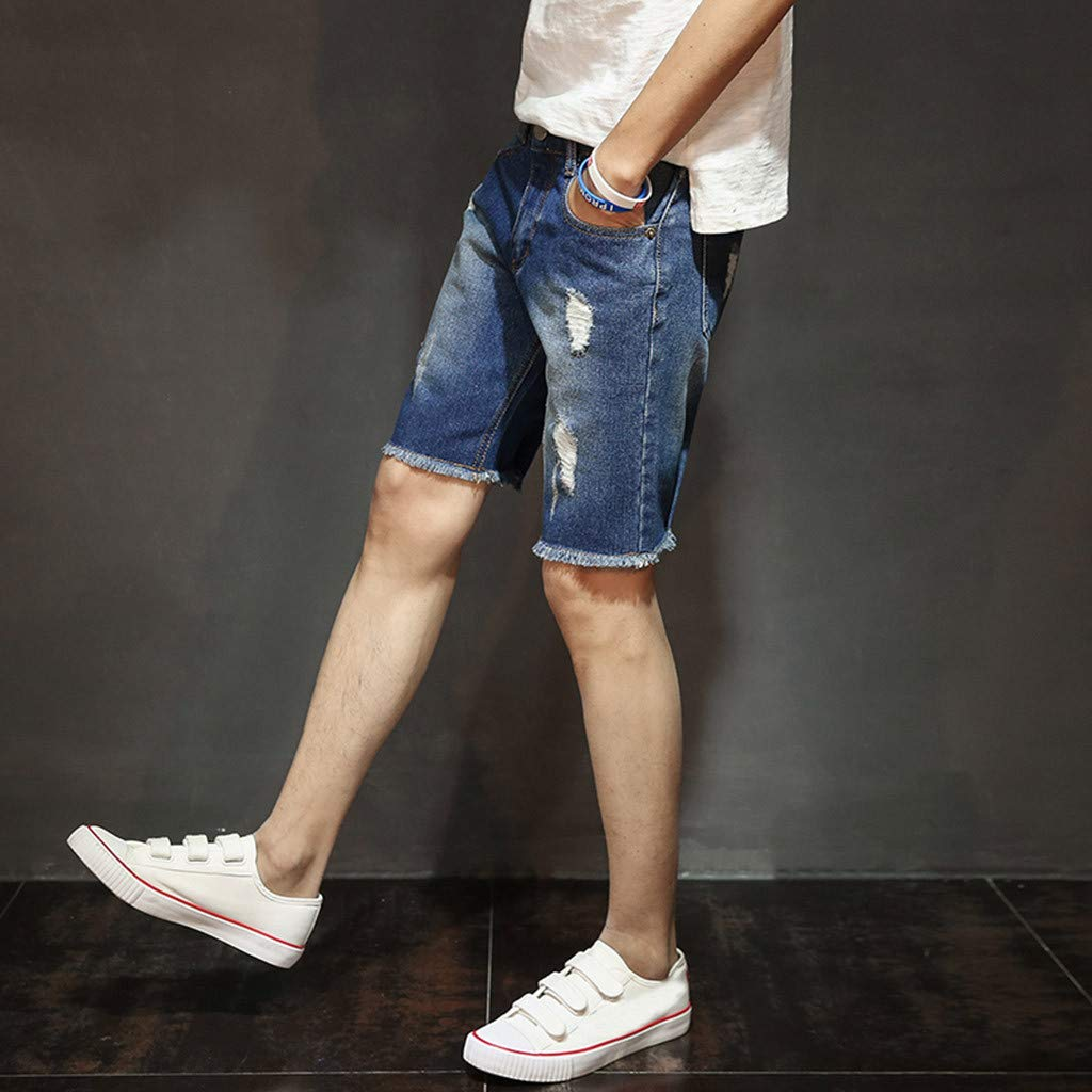 Summer Casual Loose Vintage Fashion Broken Hole Denim Beach Short Pants Trunks Mens Shorts Jeans Features Foot Mouth