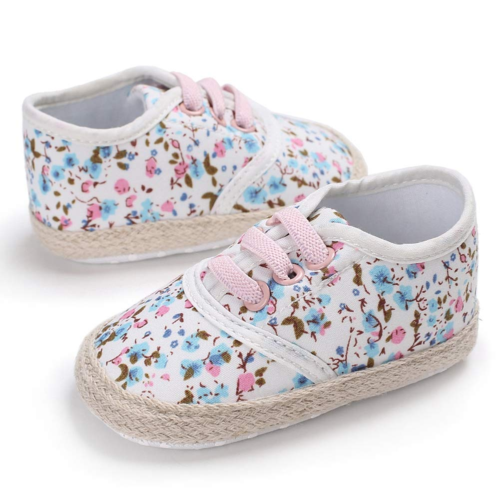 NewPinky Baby Girl Breathable Floral Print Anti-Slip Shoes Sneakers Toddler Soft Soled First Walkers