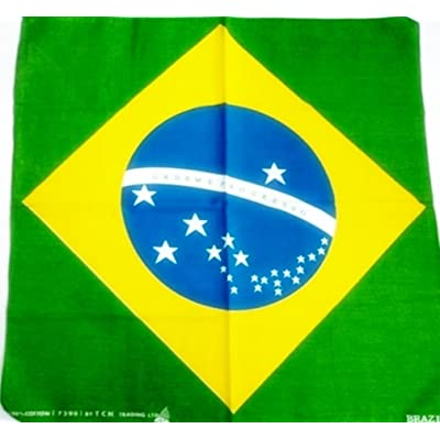 Brazil National Flag Head Wrap Dusk Mark Bandana Scarf Handkerchief, 20 inches
