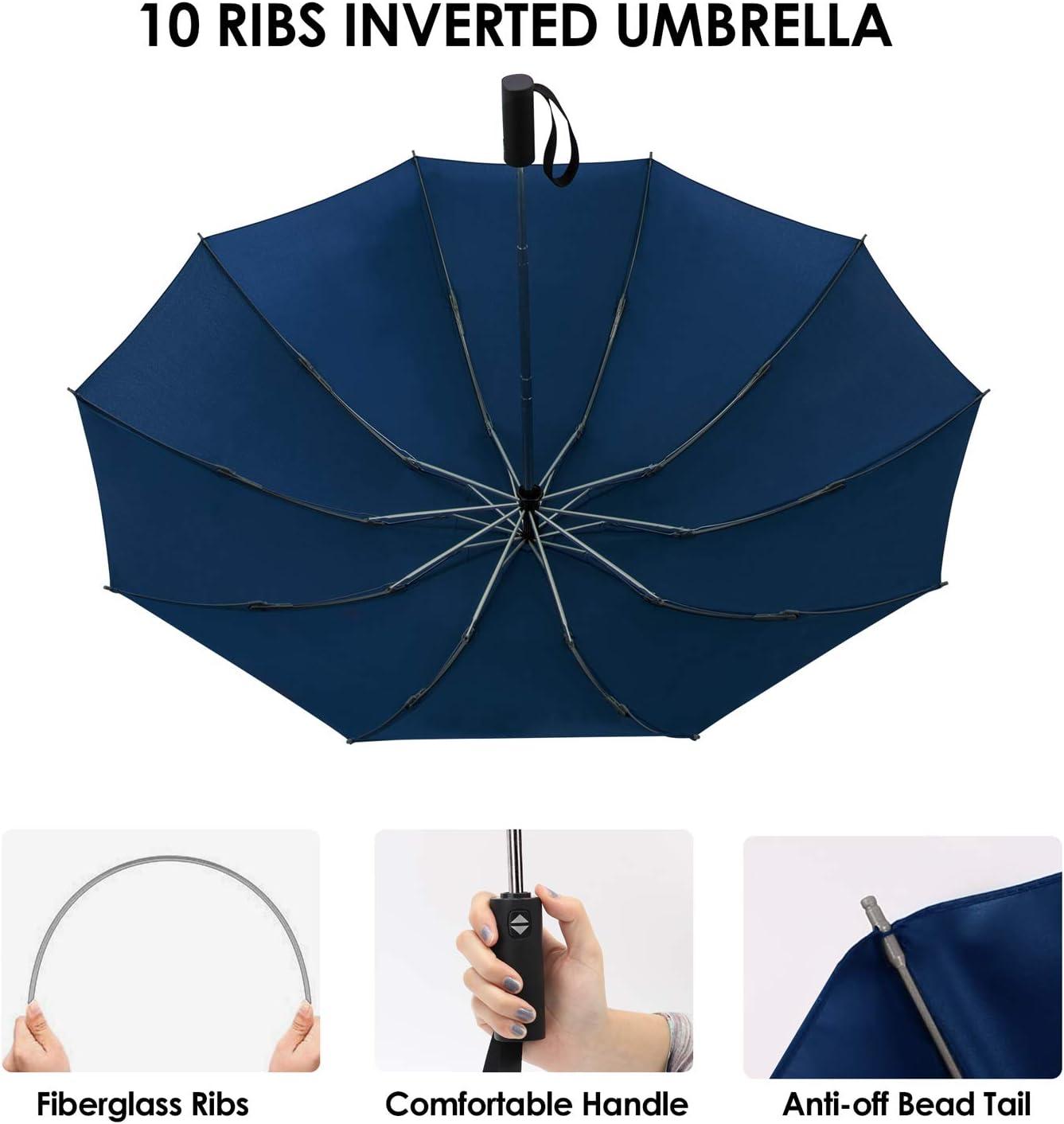 12 Baleines Parapluie de Voyage Coupe-Vent Jiguoor Parapluie Pliant Compact Pliable pour Homme et Femme,Bleu Marine Hydrofuge Parapluie de Voyage Ouverture et Fermeture Automatique,Imperm/éable