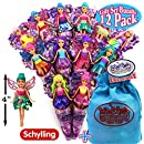 "Schylling Perfect Princess Mini Fairy Dolls (4"") Complete Gift Set Party Bundle with Exclusive Matty's Toy Stop Storage Bag - 12 Pack"