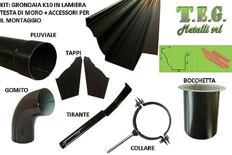T.E.G. METALLI S.R.L. Kit   Grondaia K10 SV 420 in Lamiera Testa di Moro +  Accessori c56dfc50a32d