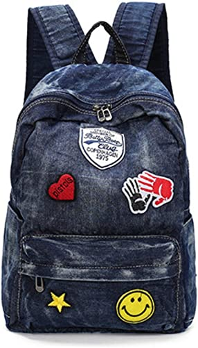 D-Sun Denim Canvas Shoulder Bag Student Fashion Casual Backpack Jean Bag with Patches Style 2