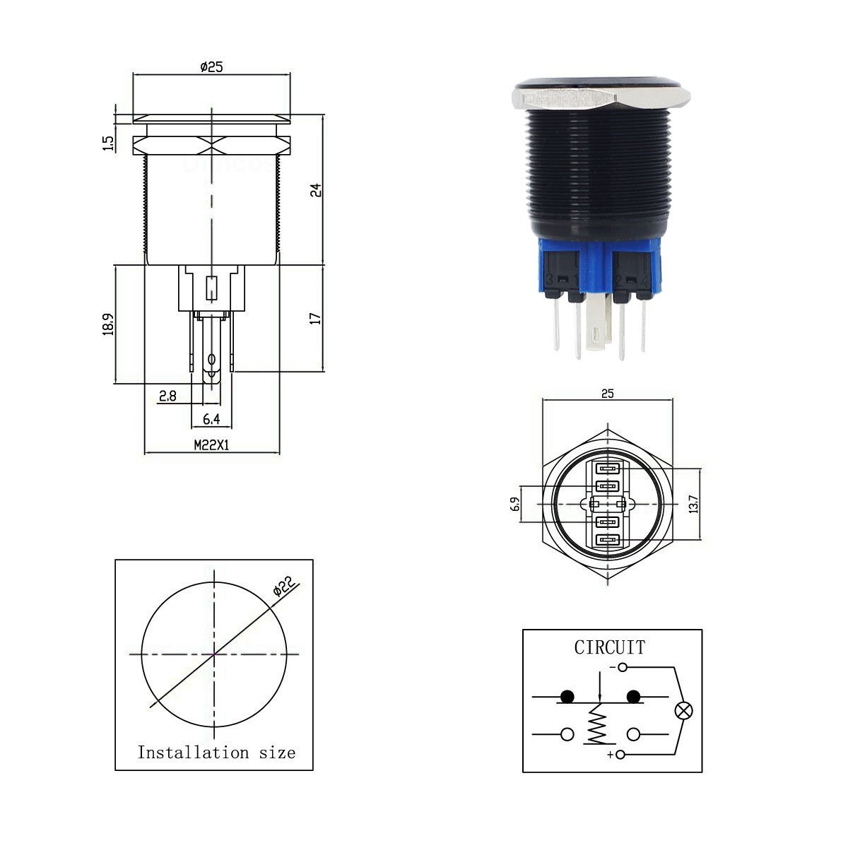 Yakamoz Dc12v 22mm 7 8 Mounting Hole Red Ring Led Light Momentary Switch Circuit Diagram On 12v Push Wiring Button Metal Industrial Boat Car Diy Black Lighting Amazon Canada