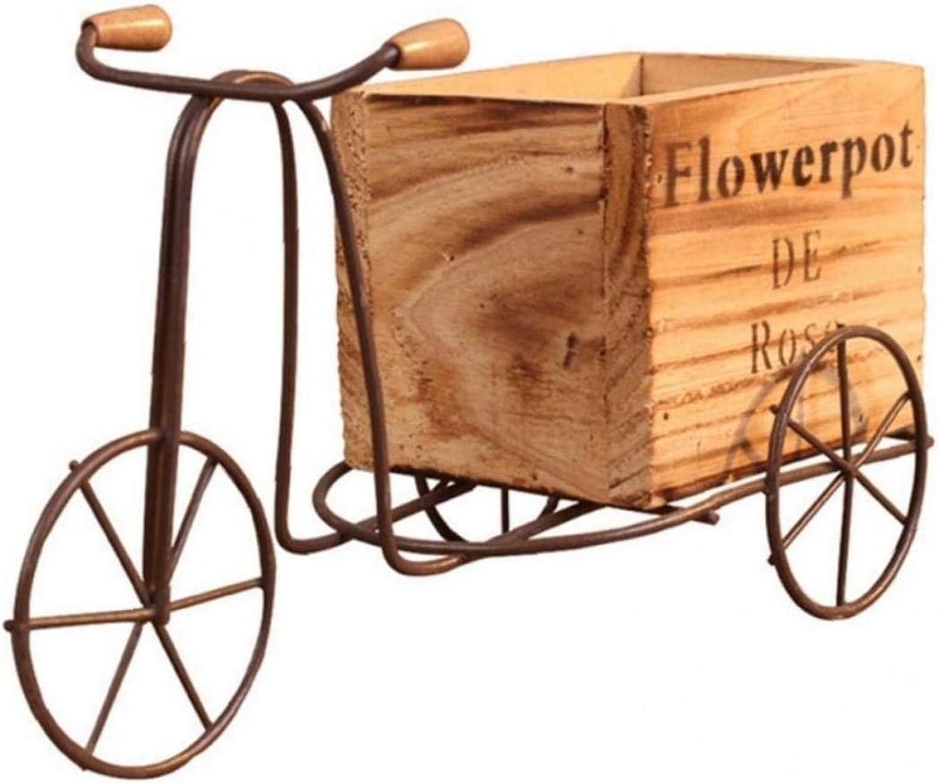 Case&Cover Hierro Tiesto Soporte De Madera Cubierta Triciclo Modelo Forjado Flor De Bicicletas De Almacenamiento En Rack Inicio Jardín Escritorio Artesanías De Decoración 1pc