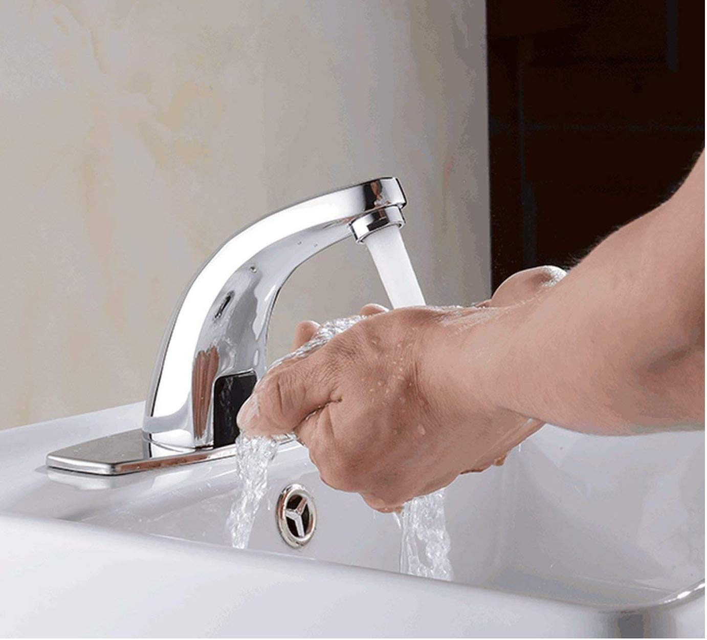 drizzle brass touchless hand-free sensor automatic tap for bathroom with  foam flow water, chrome: amazon in: home improvement