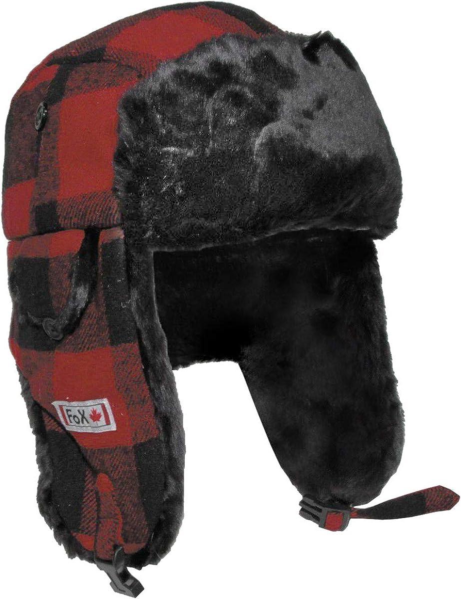Fox Outdoor Cappello di Pelliccia Lumberjack Rosso//Nero