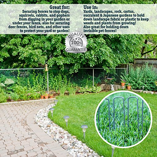 50 6-Inch Garden Landscape Staples Stakes Pins - USA Strong Pro Quality Built to Last. Weed Barrier Fabric, Ground Cover, Soaker Hose, Lawn Drippers, Irrigation Tubing, Wireless Invisible Dog Fence