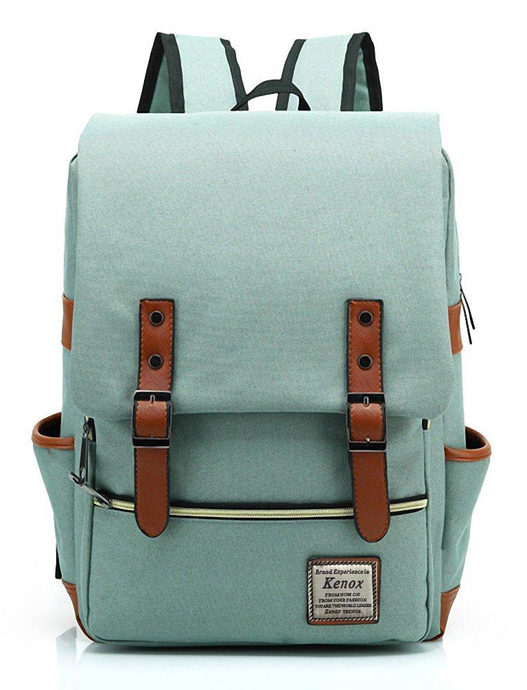 2b00c599ec77 Kenox Vintage Laptop Backpack College Backpack School Bag Fits 15-inch  Laptop (Green1)