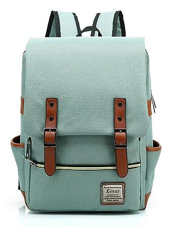 ab2d49503 Amazon.com   Kenox Vintage Laptop Backpack College Backpack School Bag Fits  15-inch Laptop (Green1)   Backpacks