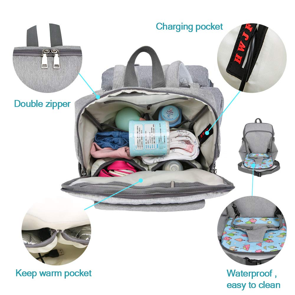Grey YGZN Nappy Changing Bag,Diaper Backpack with Baby Seat,Baby Nappy Changing Bag Multi-Function Waterproof Mummy Bags with USB Charging