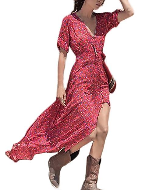 Vestidos Verano Mujer Elegantes Moda Estampado Flores Vestidos Largos Casual Manga Corta V Cuello Vintage Hippie Boho Vestido Gasa Vestido Playa: Amazon.es: ...