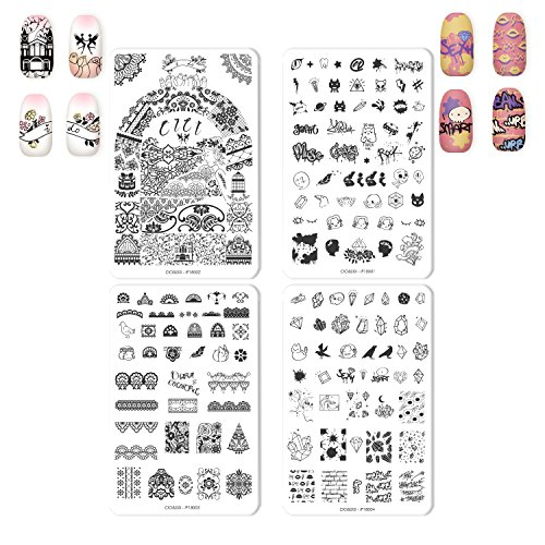 CICI&SISI 2018 Nail Art Acrylic Stamping Plates Set Lace Design Cute Patterns Manicure Print Image Plate, set of 4 (CICI&SISI IP) -
