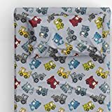 Thread Nebula Colorful Construction Trucks Boys Bed Sheet Set, Super Soft 3PC Kids Bedding Twin Size