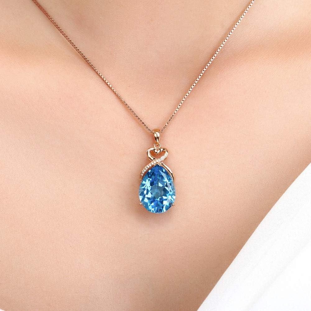 XIAOHNNL Colgante de Oro Rosa de 14 Quilates con Gema de Zafiro de 3 Quilates Señora Gema de Zafiro Azul Natural Puro Colgante de joyería con Collar de Oro Rosa de 14 Quilates |Colgante |