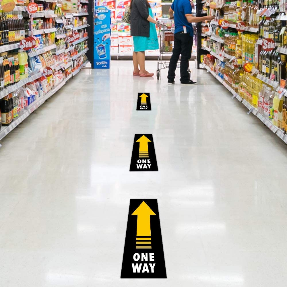 for Crowd Control Guidance 25 Pcs Social Distancing Floor Decoration Stickers One Way 5.5 x 14 Stickers Wait Here Sign Safety Distance Decal of 6 Feet Sticker Markers School Bank