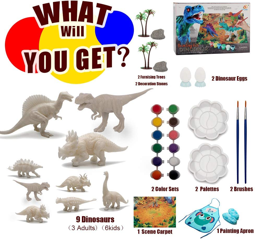 Lekebaby Arts and Crafts for Kids 3D Painting Dinosaurs Toys Create Your Own Dinosaur Art Craft Supplies Party Activities for Boys and Girls Age 4 5 6 7 8 Year Old