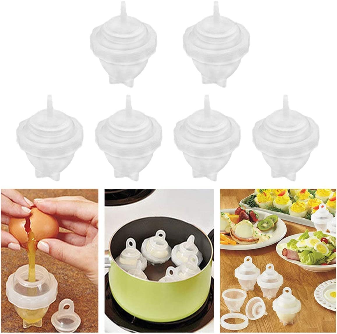Noradtjcca Egg Cooker Egg Separator Egg Boiler Cup Egg Cooking Tools Hard Boiled Egg Without Shell Omelette Molds Fast Easy to Clean