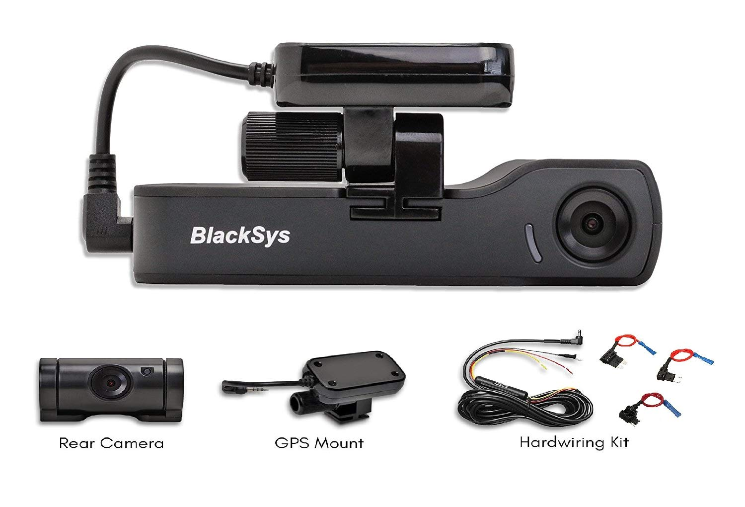 Hardwiring Kit for Parking Mode BlackSys CH-200 2 Channel Dash cam with 1920 x 1080p Full HD Night Vision GPS Mount 16GB SD Card