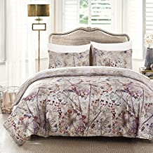 MAXYOYO Reversible Fashionable and Simple Well Designed Print Pattern Microfiber Duvet Cover Set with Hidden Zipper - Comfortable, Breathable, Soft & Extremely Durable, Twin Size