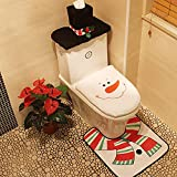 Alinktrend Stylish Durable Christmas Decorations- Adorable Felt Snowman Toilet Seat and Tank Cover and Rug Set