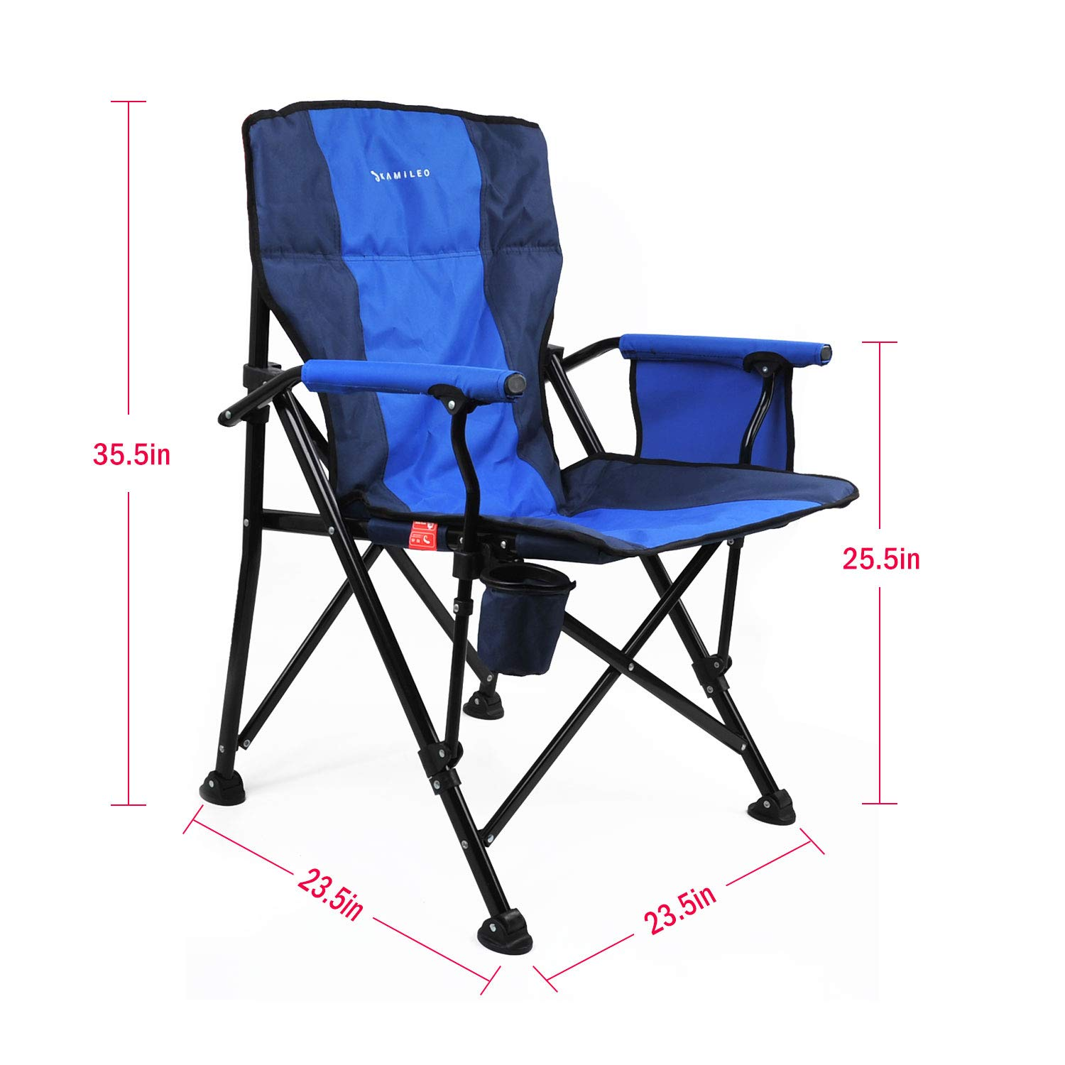 Kamileo Camping Chair, Folding Portable Lawn Chair with Padded Armrest Cup Holder and Storage Pocket Carry Bag Included