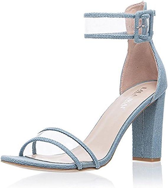 Minetom Femme Été Tendance Sandales Talons Hauts Chaussures Sandales Sexy  Bout Ouvert Lanière Talon Bloc Haut Sandals