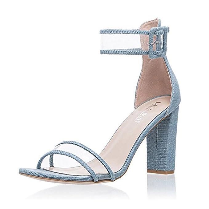 Zapatos Verano Alto Tacón Moda Minetom Correa Hebilla Transparente Elegante Mujer Botón Sandals De Tendencia Sandalias 0PknwO