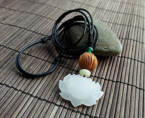Lotus Flower Jade Pendant Necklace vintage pendant handmade A++ natural handmade jade pendant Flowers Jade Necklace