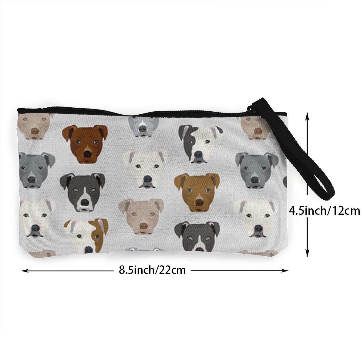 DH14hjsdDEE Pitbull Heads zipper canvas coin purse wallet Make Up Bag Cellphone Bag With Handle