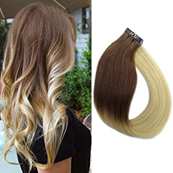 Amazon Com Hair Extensions Tape In Remy Human Hair Dark Brown To