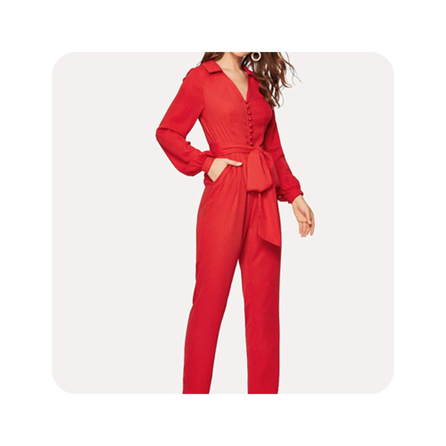 Red Button Front V k Belted Jumpsuit Women High Waist Long Trouser Highstreet Deep V k Spring Jumpsuits