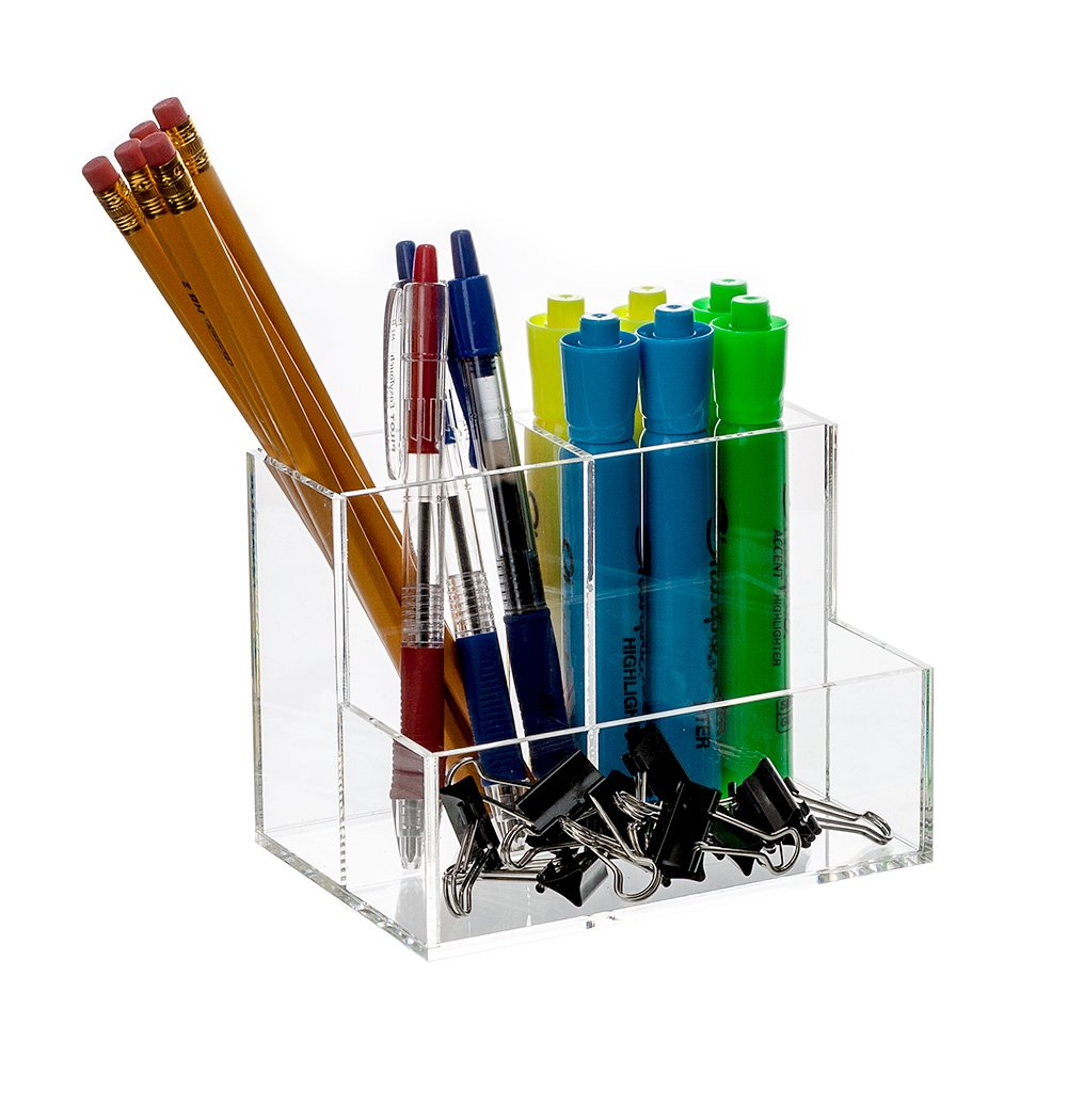 Bennett Super Quality ''Caddy'' Acrylic Desk, Office Accessories Divider / Makeup Brushes Organizer / Cosmetic Storage / Cell Phone, Pen And Pencil Etc. holder,