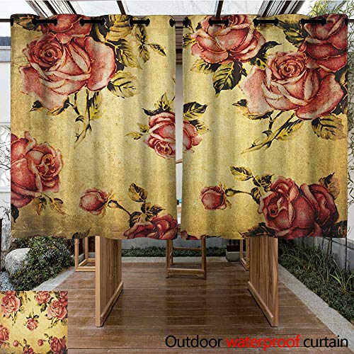 (AndyTours Outdoor Curtains,Rose,Old Fashioned Victorian Style Rose Pattern with Dramatic Color Boho Art Design,for Patio/Front Porch,K140C115 Cream Pink Green)