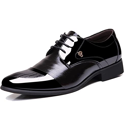 ce4f19ad86c5c OUOUVALLEY Mens Patent Leather Tuxedo Dress Shoes Lace up Pointed Toe  Oxfords