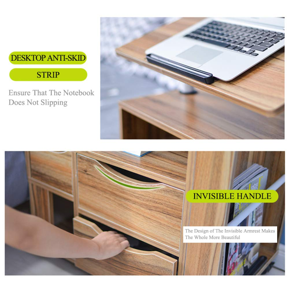 LIULIFE Mobile Computer Desk with Multi-Tier Storage Bedside Table Home Sofa Writing Desk, Two-Way Pull-Out Drawers,Black by LIULIFE (Image #3)