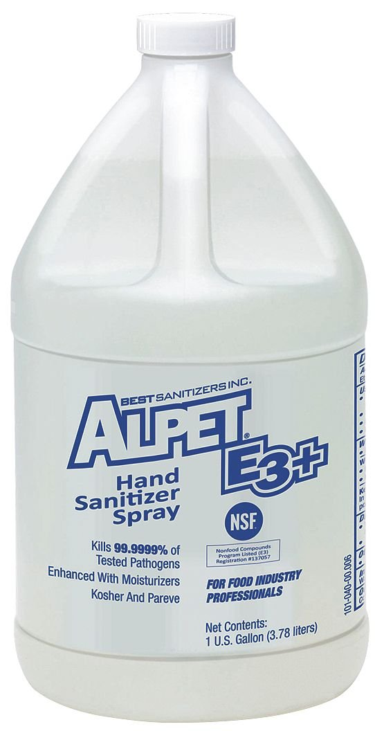 Best Sanitizers SA10014 Alpet E3 Plus Hand Sanitizer Spray, 1 Gallon Bottle (Case of 4)