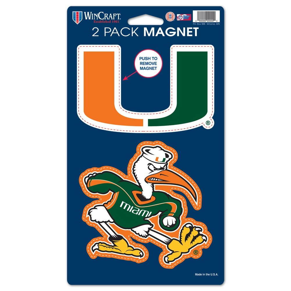 """Wincraft NCAA University of Miami (Florida) WCR29043014 Magnets (2 Pack), 5"""" x 9"""""""