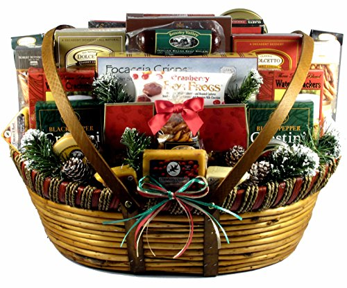 Home For The Holidays, Christmas Gift Basket (XXL), Meat And Cheese Christmas Gift Basket With Wisconsin Favorites And More, 20 Pounds ()