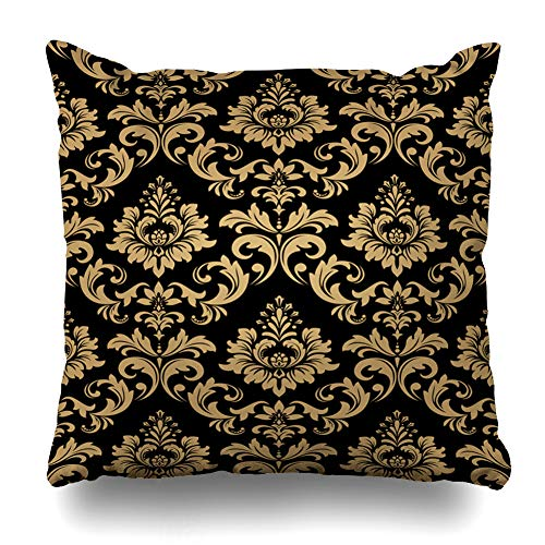 Ahawoso Throw Pillow Cover Revival Flower Floral Pattern Baroque Damask Gold Richly Black Abstract Rapport Royal Antique Dark Home Decor Cushion Case Square Size 16 x 16 Inches Zippered Pillowcase