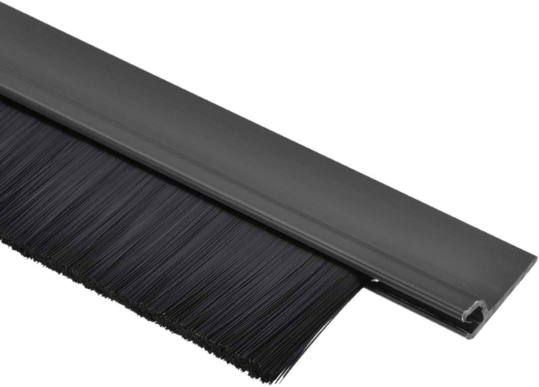 uxcell Door Bottom Sweep Coffee h-Shape PVC Holder w 1.38-inch Black PP Nylon Soft Brush 1000mm x 57mm Approx 39.37-inch x 2.24-inch