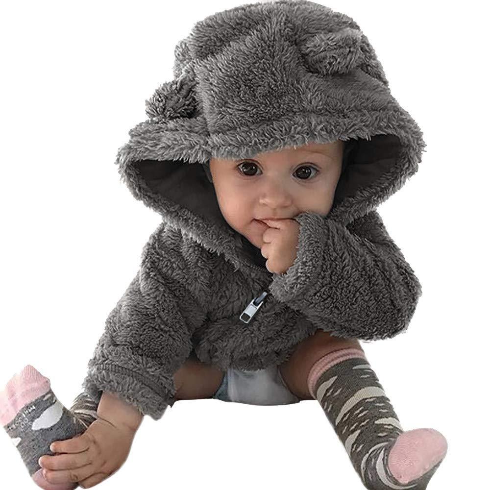 POLP Niña Chaqueta Unisex Ropa de algodón Caliente Prueba de Viento Abrigo con Capucha Felpa Cortavientos niño Ropa Bebé Otoño Invierno Gruesa Lindo Chaqueta Infantil de Moda para niños Gris