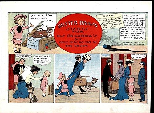 Buster Brown Train Station Loving Dog Scamp 1903 antique color comic prints ()
