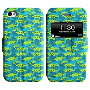 Be-Star Colorful Printed Design Slim PU Leather View Window Stand Flip Cover Case For Apple iPhone 4 / 4S ( Green Alligators ) Kimberly Kurzendoerfer