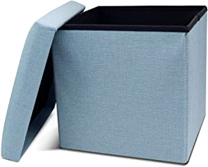 Storage Ottoman Cube Folding Ottomans with Storage Foot Rest Stool Seat Foldable Storage Ottoman Square Toy Chest Padded with Memory Foam Lid Sofa for Space Saving 11.8x11.8x11.8 inch, Blue
