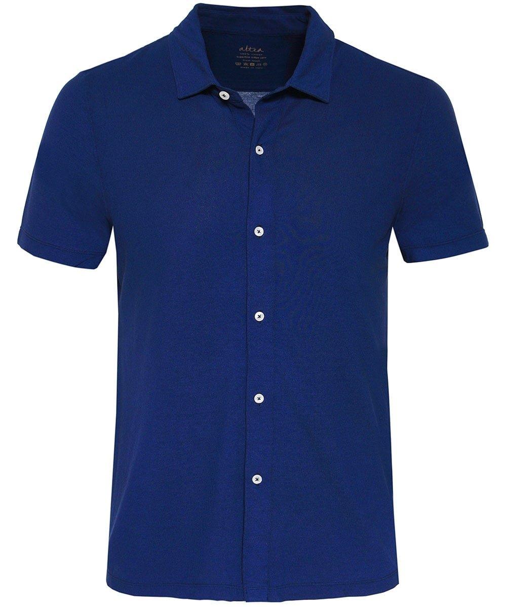 Altea Men's Superfine Crêpe Short Sleeve Baker Shirt Navy M